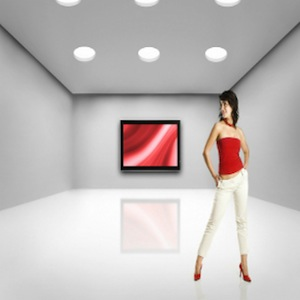 WOMAN SALES REP WALL MOUNT TV